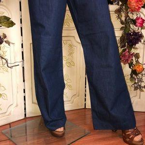 cd9379f484ce Vintage Pants - 70s NEW denim bell bottom jumpsuit romper hippie